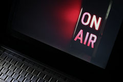 Internet Television. Computer live streaming Television symbolized by iconic On-Air broadcast sign royalty free stock photos