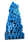 Internet Terms in 3D. Tower of three dimensional internet terms in blue Stock Photography
