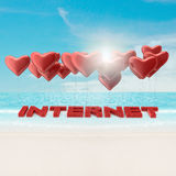 Internet text and ballons. 3d and photo montage Stock Photos