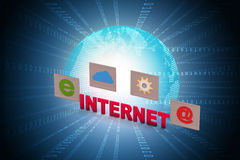 Internet text with icons Royalty Free Stock Photo