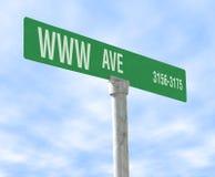 Internet-themenorientiertes Straßenschild Stockbild