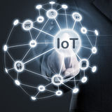 Internet of things activation. Man touching IoT (internet of things) network on display Royalty Free Stock Photography