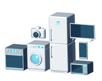 Internet of things appliances 3d. Isolated on white stock illustration