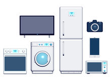 Internet of things appliances front 3d. Typical internet of things appliances front view isolated 3d vector illustration
