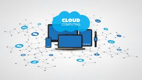 Internet of Things, Cloud Computing Design Concept with Electronic Devices and Icons - Digital Network Connections. Abstract Colorful Cloud Computing, Connection stock illustration
