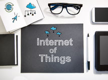 Internet Of Things concept with black and white workstation Royalty Free Stock Images
