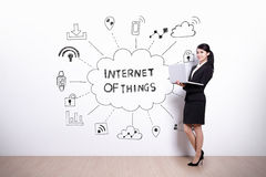 Internet of things concept. Business woman hold computer with drawing internet of things icon and text on white wall background, asian Royalty Free Stock Photo