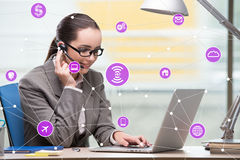 The internet of things concept with businesswoman. Internet of things concept with businesswoman Stock Image