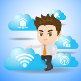 Internet of Things concept. Cartoon businessman hold IoT and cloud icon Stock Photography