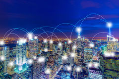 The internet of things concept in the city Stock Images