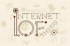 Internet of Things concept with digital and electronics font style. Stock Photo