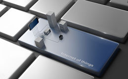 Internet of Things Concept. Home Appliances Connected To Smartphone on pc keyboard Royalty Free Stock Images