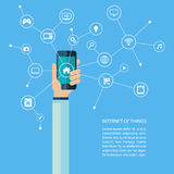 Internet of things concept with human hand holding smartphone. Royalty Free Stock Image