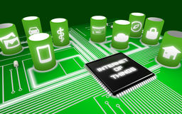 Internet of things concept illustration infographic circuit board Stock Image
