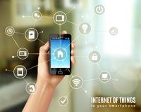 Internet Of Things Concept. With realistic human hand holding smartphone vector illustration Stock Photography