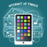 Internet of Things Concept with smart phone. Simple Internet of Things Concept Graphic Design with Smart Phone Connecting Various Home Devices on Blue Green Royalty Free Stock Image
