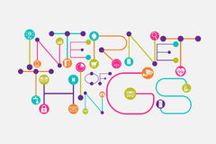 Internet of Things concept using dot and connecting line font style. And gadgets inside the connecting dots vector illustration