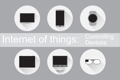 Internet of Things Controlling Devices Flat icons Royalty Free Stock Image