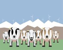 Internet of things on dairy farm. Herd management and automatic milking. Vector illustration Stock Images