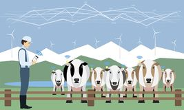 Internet of things on dairy farm. Herd management and automatic milking. Vector illustration Stock Photography