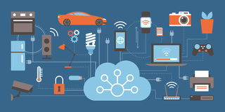 Internet of things. Devices and connectivity concepts on a network, cloud at center Royalty Free Stock Photos