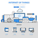 Internet of things digital concept flat line art vector icons Royalty Free Stock Images