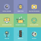 Internet of things flat icons set. Flat icons set of smart futuristic communication, internet of things technologies, global digital social network connection Royalty Free Stock Images