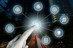 Internet of things futuristic background showing domotic connect Stock Photo