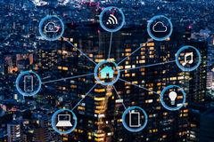 Internet of things futuristic background showing domotic connect. Internet of things futuristic background showing wireless domotic connections Stock Photo