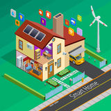 Internet Of Things Home Isometric Poster. Internet of things smart country home outside isometric poster with remote controlled appliances symbols abstract Stock Photo