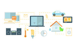 Internet of Things Icon Flat Design Stock Photos