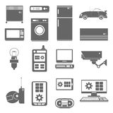 Internet things icons set black Royalty Free Stock Images