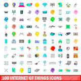100 internet of things icons set, cartoon style Royalty Free Stock Photo
