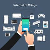 Internet of things. Illustration design concept technology solution of internet of things. Control smart devices with mobile on hand. Vector illustrate vector illustration