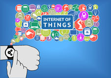 Internet of things  illustration with flat design. Finger is touching a smart watch on wrist. In order to control devices like smart thermostats, sensors Stock Images