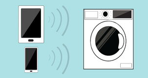 Internet of things IOT – household control wifi of washing machine. stock video footage
