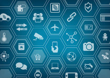 Internet of things IOT blue background with polygon shapes stock illustration
