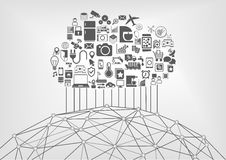 Internet of things (IOT) and cloud computing concept for connected devices in the world wide web. Vector illustration with icons stock illustration