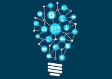 Internet of things (IOT) concept. Digital revolution with new technology opening up new possibilities. Light bulb to represent finding new ideas Stock Image