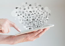 Internet of things (IoT) concept with hands holding tablet Stock Photography