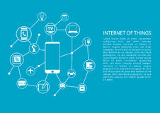 Internet of things (IOT) concept with mobile phone connected to network of devices. Vector template with text Royalty Free Stock Photography