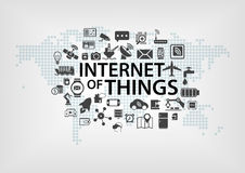 Internet of things (IOT) concept with world map and connected devices as  illustration Royalty Free Stock Images
