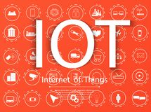 Internet of things IoT and networking concept for connected devices. Icon set royalty free illustration