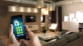 Internet of things iot Remote home control to modern living r. Oom system on phone stock images
