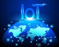 Internet of things IOT technology and World map cyber data int stock illustration