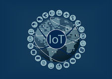 Internet of Things (IoT) word and icons with globe and world map. Internet of Things (IoT) word and icons with globe and dotted world map Royalty Free Stock Images
