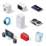 Internet things isometric icons. Household appliances. Wireless electronic devices vector 3d isolated set. Illustration of wireless household isometric vector illustration