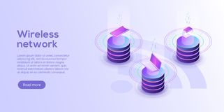 Internet of things layout. IOT online synchronization and connection via smartphone wireless technology. Smart home concept with. Isometric icons and symbols royalty free illustration