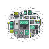 Internet of things line style illustration Royalty Free Stock Photos
