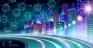 Internet of things low poly smart city 3D wire mesh. Intelligent building automation IOT concept. Modern wireless online. Control icon urban cityscape royalty free illustration